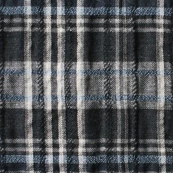 コットン&リネン×チェック(ブルー&ブラック)×ガーゼ・タテタック_全2色