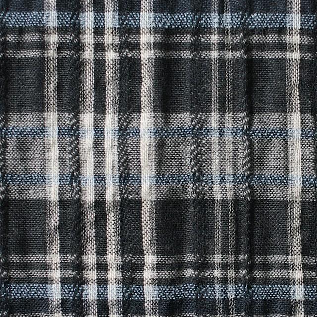 コットン&リネン×チェック(ブルー&ブラック)×ガーゼ・タテタック_全2色 イメージ1