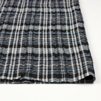 コットン&リネン×チェック(ブルー&ブラック)×ガーゼ・タテタック_全2色 サムネイル3