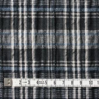 コットン&リネン×チェック(ブルー&ブラック)×ガーゼ・タテタック_全2色 サムネイル4