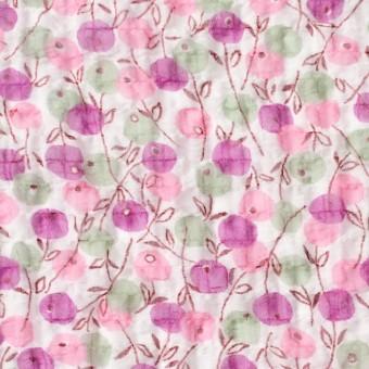 ポリエステル×フラワー(ピンクミックス)×シフォン・ジョーゼット_全3色
