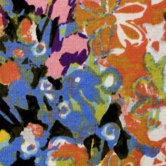 コットン×フラワー(オーカー&サルビアブルー)×天竺ニット_全3色 サムネイル1