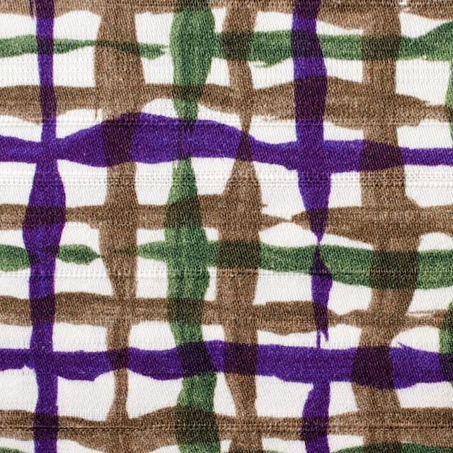 コットン×幾何学模様(パープル&グリーン、ブラウン)×サテン_イタリア製 イメージ1