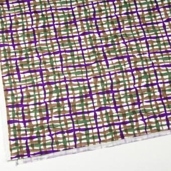 コットン×幾何学模様(パープル&グリーン、ブラウン)×サテン_イタリア製 サムネイル2