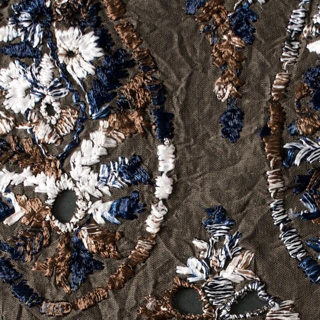 コットン×ペイズリー(ブラウン)×ボイル刺繍_全2色 イメージ1