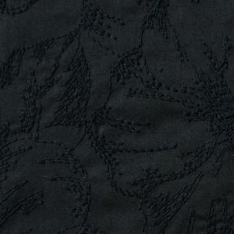 コットン×フラワー(ブラック)×ローン刺繍