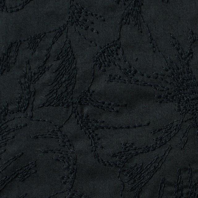 コットン×フラワー(ブラック)×ローン刺繍 イメージ1