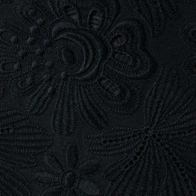 コットン×フラワー(ブラック)×ボイル刺繍 イメージ1