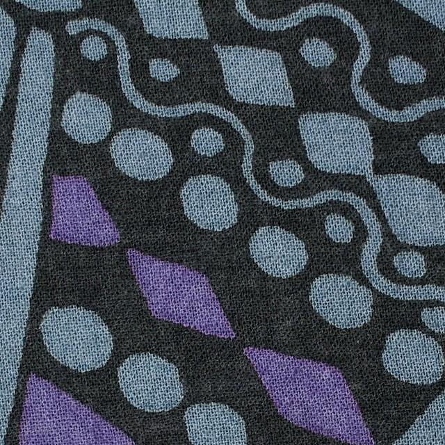 コットン×幾何学模様(ブルーグレー&パープル)×ガーゼ_全3色 イメージ1
