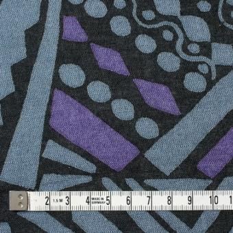コットン×幾何学模様(ブルーグレー&パープル)×ガーゼ_全3色 サムネイル4