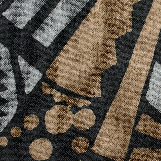 コットン×幾何学模様(モカ&グレー)×ガーゼ_全3色 イメージ1