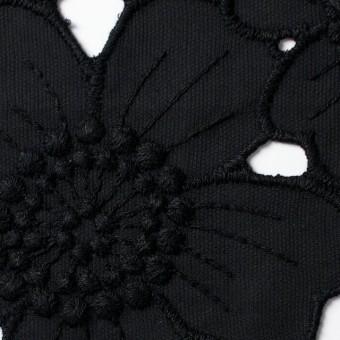 コットン×フラワー(ブラック)×ピケ刺繍_全2色