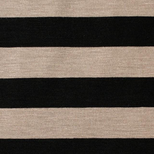 コットン×ボーダー(オークルベージュ&ブラック)×天竺ニット_全3色 イメージ1