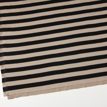 コットン×ボーダー(オークルベージュ&ブラック)×天竺ニット_全3色 サムネイル2