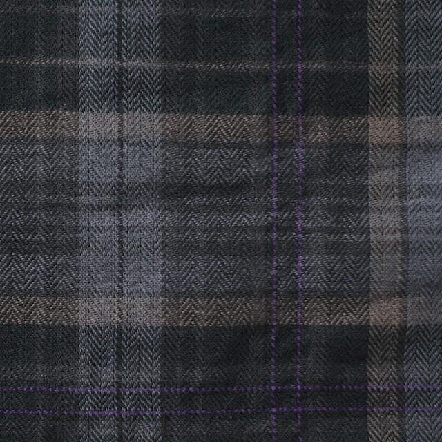 コットン&ポリウレタン×チェック(グレーミックス)×ヘリンボーン_全2色 イメージ1