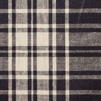 コットン&リネン混×チェック(アッシュグレープ)×シーチング_全2色 サムネイル1