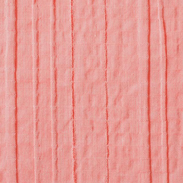コットン&ポリウレタン×無地(コーラル)×ガーゼ・タテタック_全3色 イメージ1