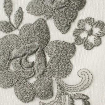 ナイロン&ポリエステル×フラワー(スレートグリーン)×チュール刺繍_全2色