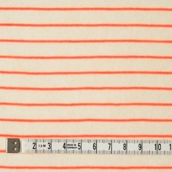 コットン&アクリル混×ボーダー(オレンジ)×天竺ニット_全4色 サムネイル4