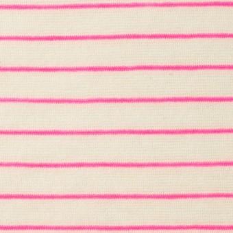 コットン&アクリル混×ボーダー(ピンク)×天竺ニット_全4色
