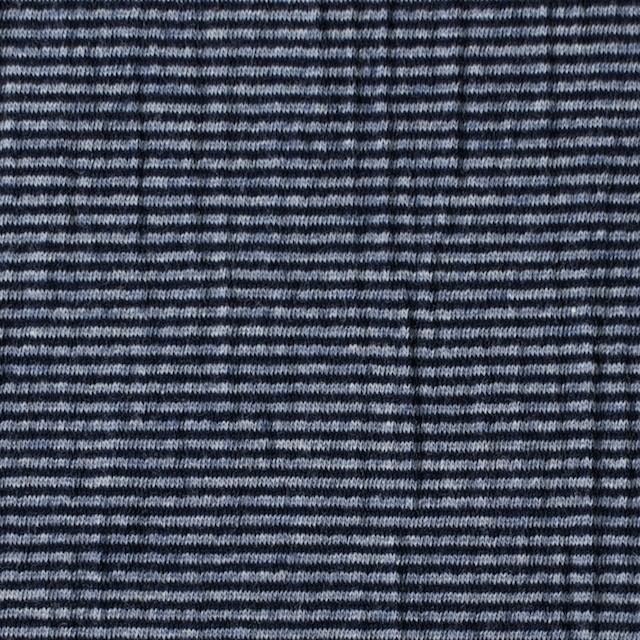 コットン&ポリウレタン×ボーダー(インクブルー)×天竺ニット イメージ1