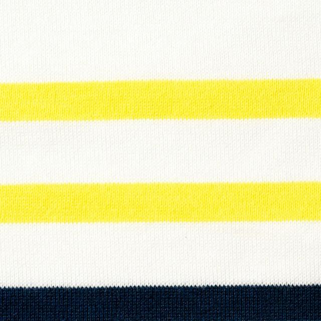 コットン×ボーダー(ホワイト&イエロー、ダークネイビー)×天竺ニット イメージ1