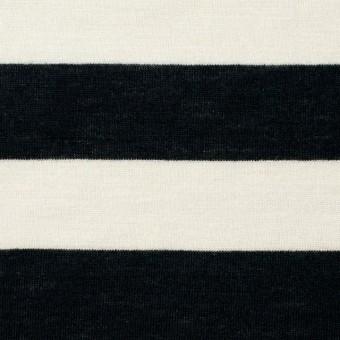 コットン×ボーダー(アイボリー&ブラック)×天竺ニット サムネイル1