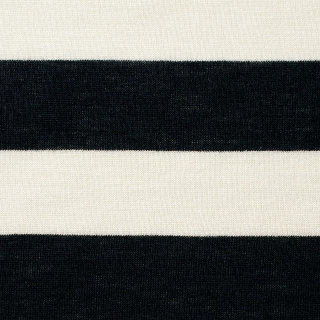 コットン×ボーダー(アイボリー&ブラック)×天竺ニット イメージ1