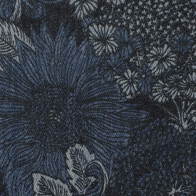コットン&ポリウレタン×フラワー(インディゴ)×デニムストレッチ イメージ1