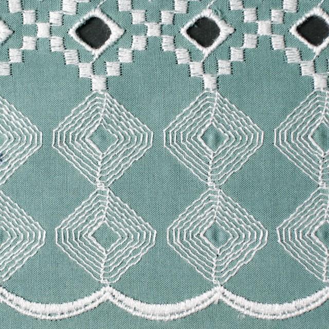 コットン×幾何学模様(ミントグレー)×ローン刺繍_全3色 イメージ1
