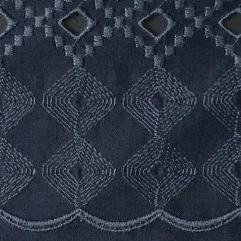 コットン×幾何学模様(ネイビー)×ローン刺繍_全3色