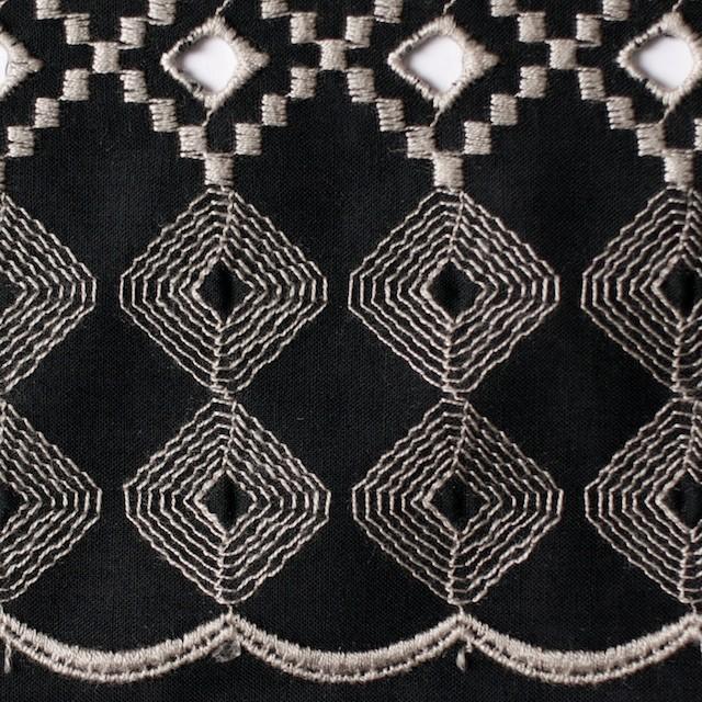 コットン×幾何学模様(ブラック)×ローン刺繍_全3色 イメージ1