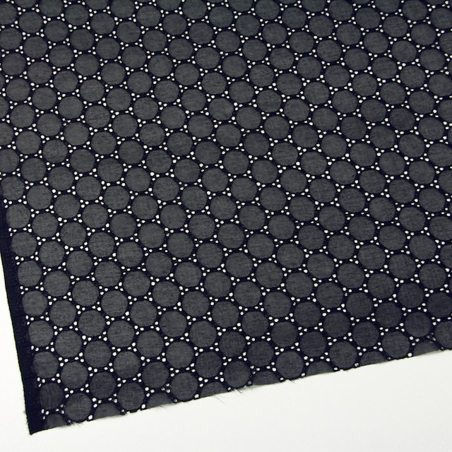シルク×輪模様(ブラック)×ジョーゼット刺繍 イメージ2
