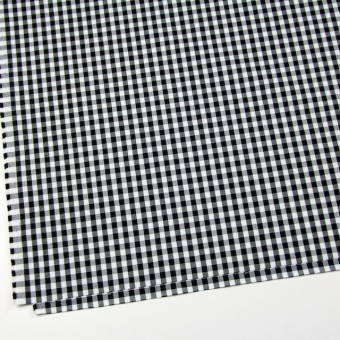 コットン&ポリウレタン×チェック(ホワイト&ブラック)×サージストレッチ サムネイル2