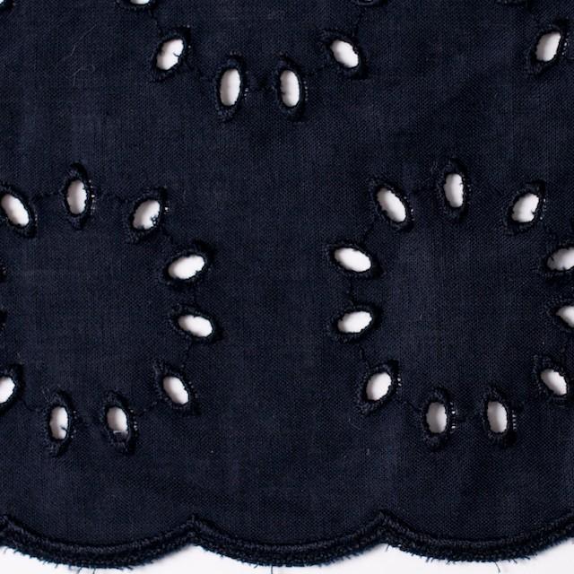 コットン×サークル(ネイビー)×ローン刺繍 イメージ1