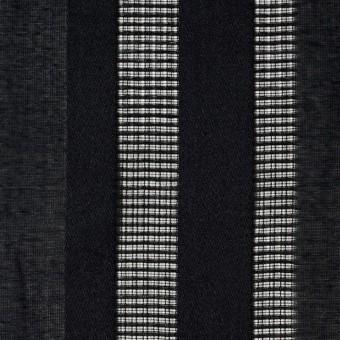 コットン×ストライプ(ブラック)×からみ織