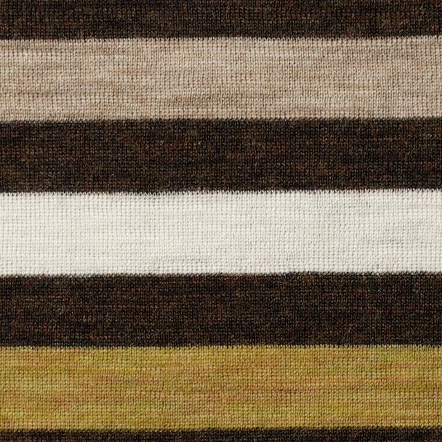 ウール&アクリル×ボーダー(グリーンイエロー&ブラウン)×フライスニット_全3色 イメージ1