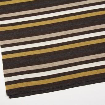 ウール&アクリル×ボーダー(グリーンイエロー&ブラウン)×フライスニット_全3色 サムネイル2