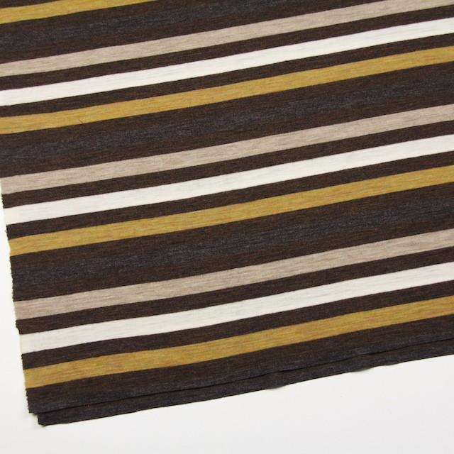 ウール&アクリル×ボーダー(グリーンイエロー&ブラウン)×フライスニット_全3色 イメージ2