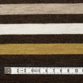 ウール&アクリル×ボーダー(グリーンイエロー&ブラウン)×フライスニット_全3色 サムネイル4