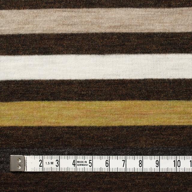ウール&アクリル×ボーダー(グリーンイエロー&ブラウン)×フライスニット_全3色 イメージ4