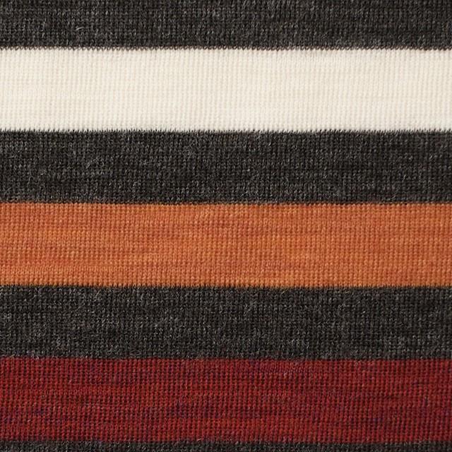 ウール&アクリル×ボーダー(オレンジ&レッド)×フライスニット_全3色 イメージ1