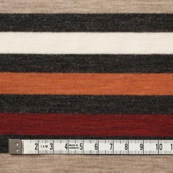 ウール&アクリル×ボーダー(オレンジ&レッド)×フライスニット_全3色 サムネイル4