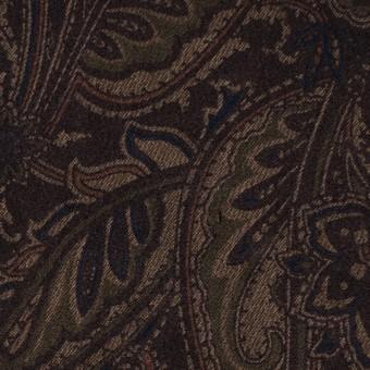 ポリエステル&ポリウレタン×ペイズリー(ダークブラウン)×スエードかわり織ストレッチ_全2色 サムネイル1