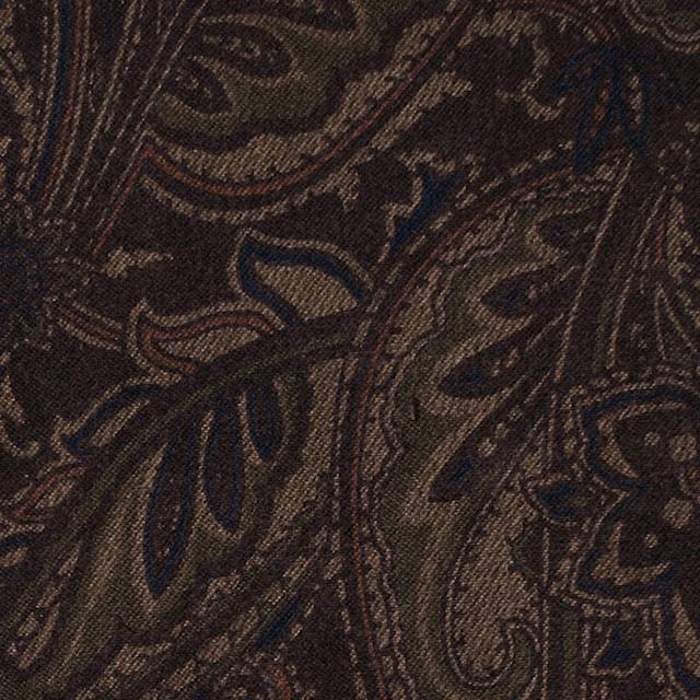 ポリエステル&ポリウレタン×ペイズリー(ダークブラウン)×スエードかわり織ストレッチ_全2色 イメージ1
