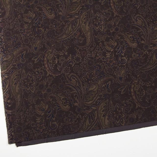ポリエステル&ポリウレタン×ペイズリー(ダークブラウン)×スエードかわり織ストレッチ_全2色 イメージ2