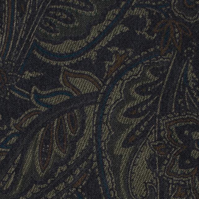 ポリエステル&ポリウレタン×ペイズリー(チャコールブラック)×スエードかわり織ストレッチ_全2色 イメージ1