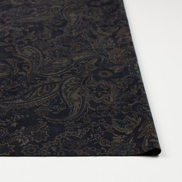 ポリエステル&ポリウレタン×ペイズリー(チャコールブラック)×スエードかわり織ストレッチ_全2色 イメージ3