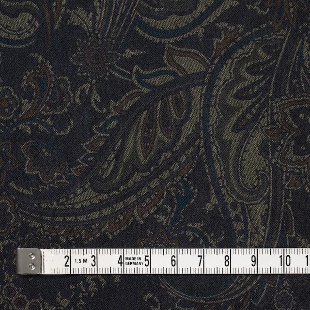 ポリエステル&ポリウレタン×ペイズリー(チャコールブラック)×スエードかわり織ストレッチ_全2色 イメージ4