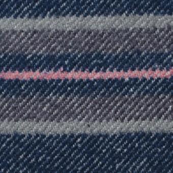 コットン×ボーダー(ブルー&グレー)×ビエラ サムネイル1